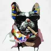 Smoking Dog Hand Painted Oil Painting With Stretched Frame Wall Art 24 x 24 Inch