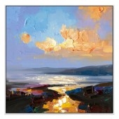 Sunset Reflections Hand Painted Oil Painting With Stretched Frame Wall Art 24 x 24 Inch