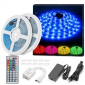 LED Strip Lights Kit Waterproof 2x5m 32.8ft In Total 5050 RGB 300Led Strips Lighting Flexible Color Changing With 44 Key IR Remote Ideal For Home Kitchen Christmas DC 12V 4A UL Listed